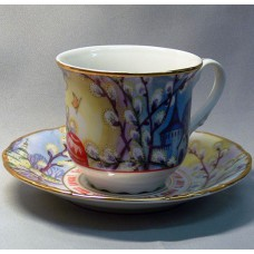 Фарфоровая чашка  и блюдце с пасхальным сюжетом. Емкость 0.225 л